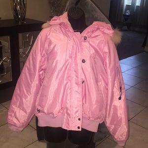 Baby Phat pink puff nylon jacket EUC w/ BP decals